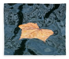 Autumn Leaf Floating On Water Fleece Blanket