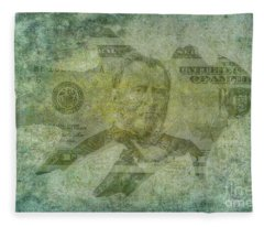 Autumn Leaf Paper Money Fleece Blanket