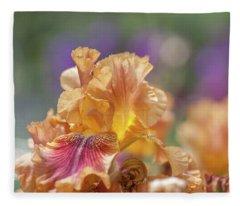 Autumn Leaves Iris Flower. The Beauty Of Irises  Fleece Blanket