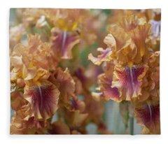 Autumn Leaves Irises In Garden Fleece Blanket
