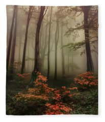 Autumn Mornin In Forgotten Forest Fleece Blanket