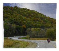 Autumn Motorcycle Rider / Red Fleece Blanket