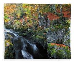 Autumn On River Esk Fleece Blanket