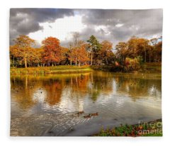 Autumn Over The Lake At Hesketh Park 2 Fleece Blanket