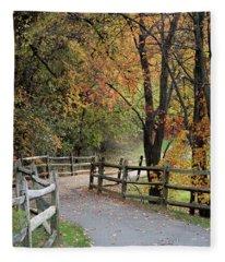 Autumn Path In Park In Maryland Fleece Blanket