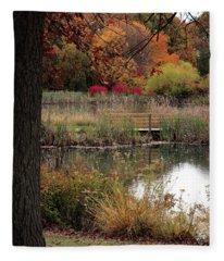 Autumn Pond In Maryland Fleece Blanket