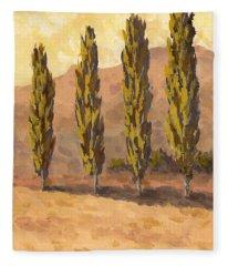 Autumn Poplars Fleece Blanket