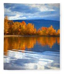 Autumn Reflections At Sunoka Fleece Blanket