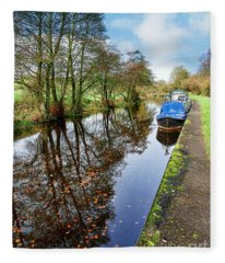 Autumn Reflections On  The Leeds Liverpool Canal Fleece Blanket
