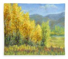 Autumn River Valley Fleece Blanket