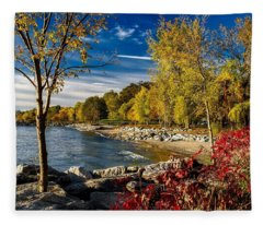 Autumn Scene Lake Ontario Canada Fleece Blanket