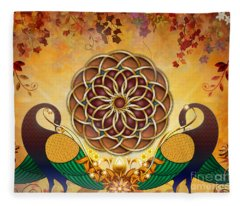 Autumn Serenade - Mandala Of The Two Peacocks Fleece Blanket