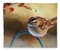 Autumn Sparrow Fleece Blanket