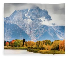 Autumn Storm Over Mount Moran Fleece Blanket