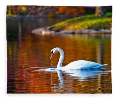 Autumn Swan Lake Fleece Blanket