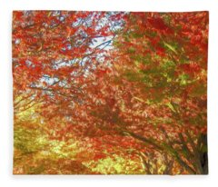Autumn Trees Digital Watercolor Fleece Blanket
