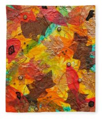 Autumn Leaves Underfoot Fleece Blanket