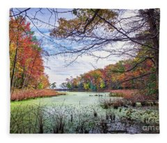 Autumn View Through The Trees Of A Chesapeak Bay Lake Fleece Blanket