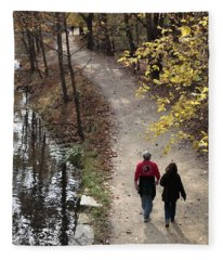Autumn Walk On The C And O Canal Towpath With Oil Painting Effect Fleece Blanket