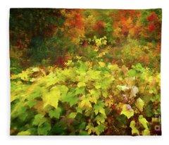 Autumn Watercolor Fleece Blanket
