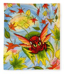 Autumn Winds Fairy Cat Fleece Blanket