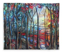 Autumn Woods Sunrise Fleece Blanket