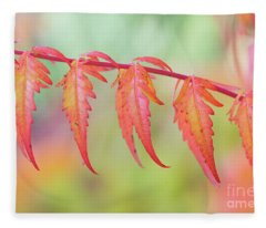 Autumnal Sumac Red Autumn Lace Leaves Fleece Blanket