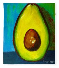 Avocado, Modern Art, Kitchen Decor, Blue Green Background Fleece Blanket