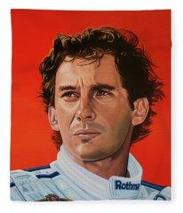 Ayrton Senna Portrait Painting Fleece Blanket