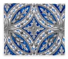 Azulejo - Blue Floral Decoration  Fleece Blanket