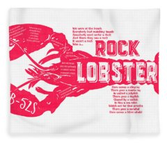 Fleece Blanket featuring the drawing B-52s Rock Lobster Lyric Poster by Edward Fielding