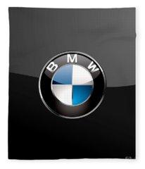 B M W  3 D Badge On Black Fleece Blanket