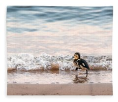 Baby Duck Running On A Beach Into The Waves Fleece Blanket