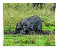 Baby Elephant Playing In The Mud Fleece Blanket