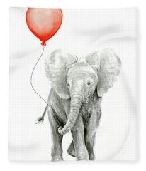 Baby Elephant Watercolor Red Balloon Fleece Blanket