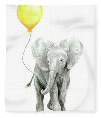 Baby Elephant Watercolor With Yellow Balloon Fleece Blanket