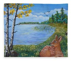 Baby Fawn In Spring Fleece Blanket