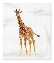 Baby Giraffe Isolated On White Fleece Blanket