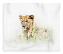 Baby Lion In Africa Isolated On White Fleece Blanket