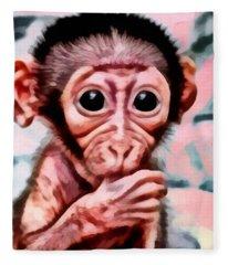 Baby Monkey Realistic Fleece Blanket
