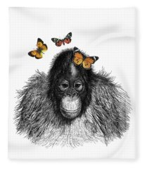 Baby Monkey With Orange Butterflies Fleece Blanket