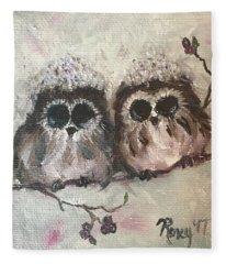 Baby Owls In The Snow Fleece Blanket