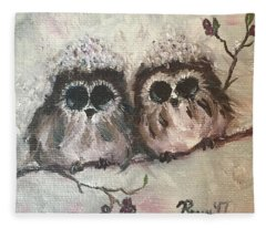 Baby Owls In The Snow Fleece Blanket