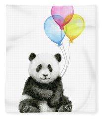 Baby Panda Watercolor With Balloons Fleece Blanket