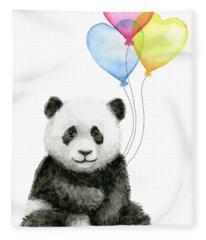 Baby Panda With Heart-shaped Balloons Fleece Blanket