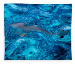 Baby Shark In The Turquoise Water. Production By Nature Fleece Blanket