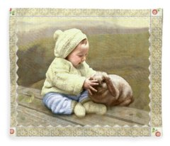 Baby Touches Bunny's Nose Fleece Blanket