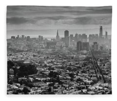 Back And White View Of Downtown San Francisco In A Foggy Day Fleece Blanket