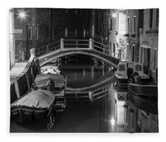 Back Canal In Venice Italy  Fleece Blanket