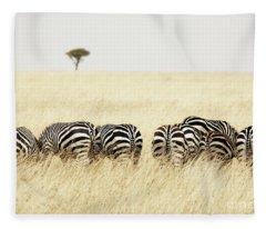 Back View Of Zebras In A Row  Fleece Blanket